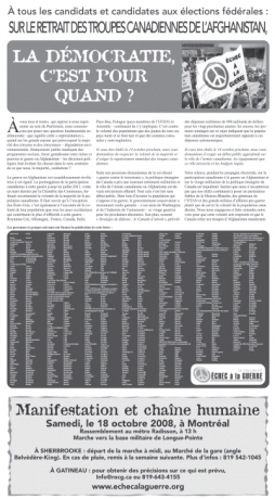 Déclaration publiée dans le journal Le Devoir du 10 octobre 2008