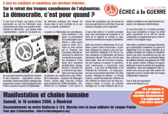 Déclaration publiée dans le journal Métro du 10 octobre 2008