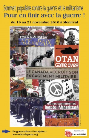 Affiche du Sommet populaire contre la guerre et le militarisme - du 19 au 21 novembre 2010, Montréal.