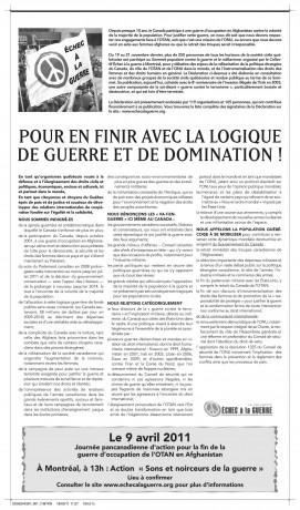 Déclaration parue dans Le Devoir le 19 mars et annonçant la manifestation du 9 avril 2011