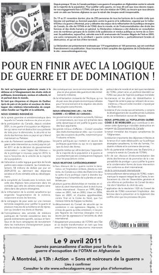 Déclaration issue du Sommet - publiée dans Le Devoir du 19 mars 2011, endossée par 124 organisations et 169 individu.e.s