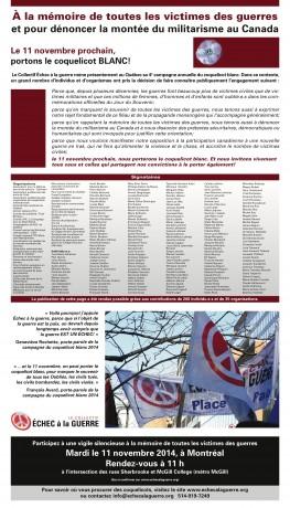 Déclaration publiée pour le 11 novembre 2014