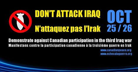 Affiche de l′Alliance canadienne pour la paix et du Collectif Échec à la guerre pour les actions du 25-26 octobre 2014