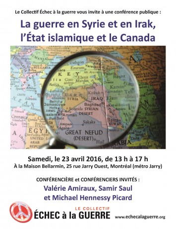 Affiche de la conférence ″La guerre en Syrie et en Irak, l'État islamique et le Canada″