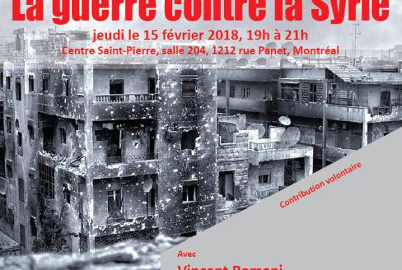 Invitation: Soirée sur la Syrie le 15-02-2018