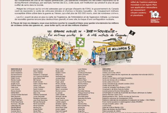 L'heure est grave! Déclaration publiée le 7 novembre 2020 – Campagne coquelicot blanc