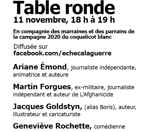 Table ronde virtuelle le 11 novembre 2020 : Les grands oubliés du 'Jour du Souvenir' – Les victimes civiles et le rôle néfaste du Canada