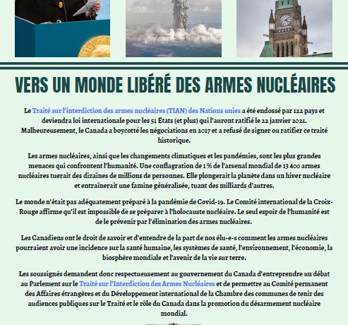 Déclaration à endosser : Vers un monde libéré des armes nucléaires (appel fermé)