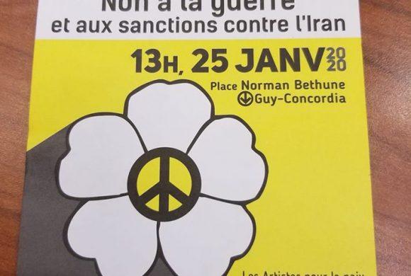 Manifestation le 25 janvier 2020: Journée mondiale de manifestation: Non à la guerre et aux sanctions contre l'Iran