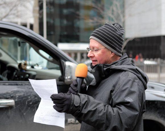 Discours prononcé le 25 janvier 2020 par Raymond Legault, du Collectif Échec à la guerre.