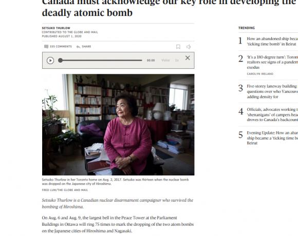 Le Canada doit reconnaître son rôle clé dans le développement de la terrible bombe atomique