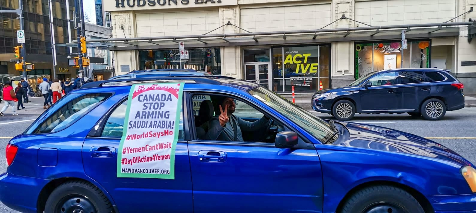 Caravane d'auto -Vancouver, MAWO, contre la guerre au Yémen, le 24-01-2021