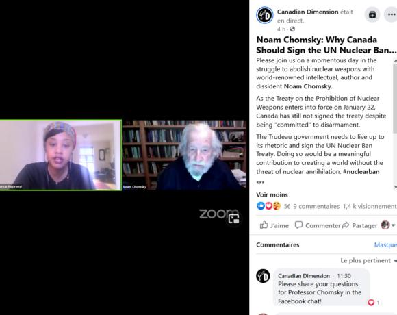"""""""Vers un monde libéré des armes nucléaires"""": appel publié, conférence de presse et webinaire avec Noam Chomsky"""