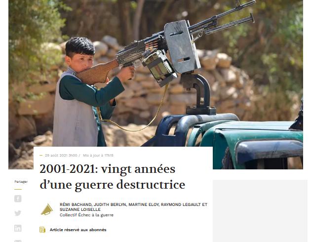 Lettre ouverte du 28-08-2021: 2001-2021: Vingt années d'une guerre destructrice