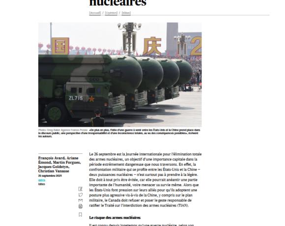 Lettre ouverte: Le Canada doit ratifier le Traité sur l'interdiction des armes nucléaires