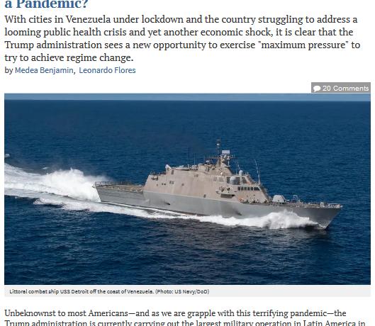Menace d'intervention militaire au Venezuela durant une pandémie?