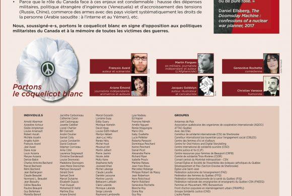 Déclaration publiée le 2 novembre 2019 – Campagne coquelicot blanc 2019
