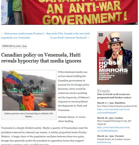 19-02-2019: La politique canadienne à l'égard du Venezuela et d'Haïti révèle une hypocrisie ignorée par les médias. Traduction d'un texte de Yves Engler