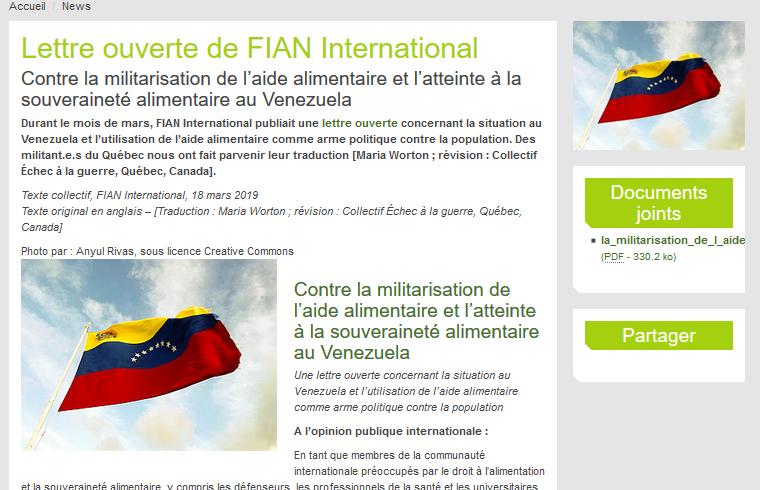 18-03-2019: Contre la militarisation de l'aide alimentaire et l'atteinte à la souveraineté alimentaire au Venezuela