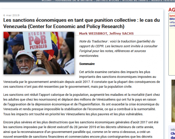 06-05-2019: Les sanctions économiques en tant que punition collective : le cas du Venezuela