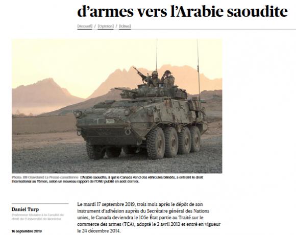 Une nouvelle procédure pour faire cesser l'exportation d'armes vers l'Arabie saoudite