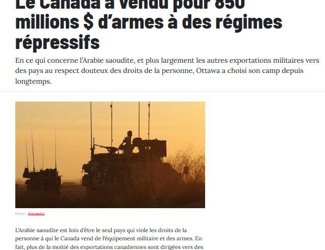 Le Canada a vendu pour 850 millions $ d'armes à des régimes répressifs – L'Actualité