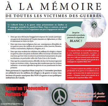 Déclaration publiée le 31 octobre en lien avec le Jour du souvenir 2015