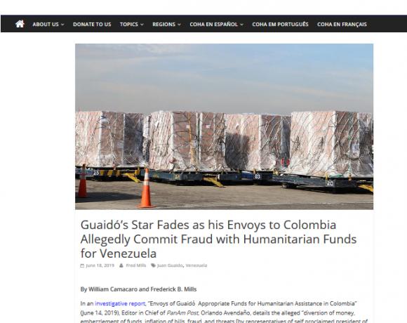 18-06-2019: Guaidó perd des plumes : ses envoyés en Colombie sous le coup d'allégations de détournement de fonds humanitaires destinés au Venezuela