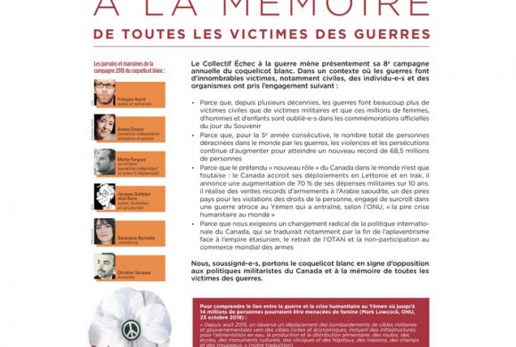 Déclaration publiée le 3 novembre 2018 – Campagne coquelicot blanc 2018