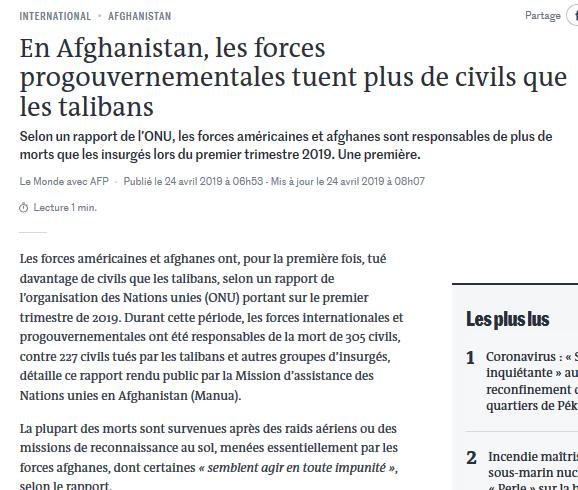 24-04-2019: En Afghanistan, les forces progouvernementales tuent plus de civils que les talibans