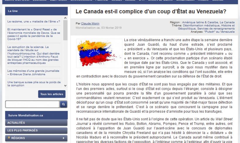 Le Canada est-il complice d'un coup d'État au Venezuela? Textes de Claude Morin