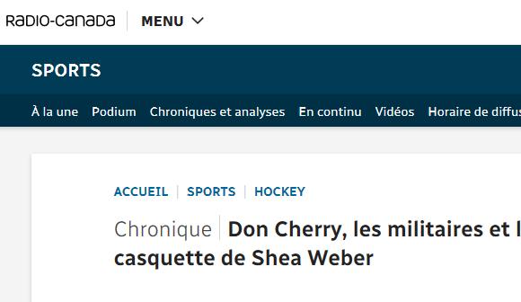 Don Cherry, les militaires et la casquette de Shea Weber