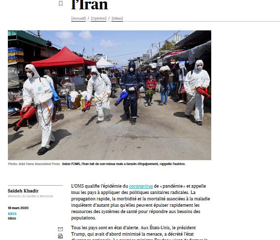 Sanctions américaines contre l'Iran : Lettre de Saïdeh Khadir parue le 18-03-2020